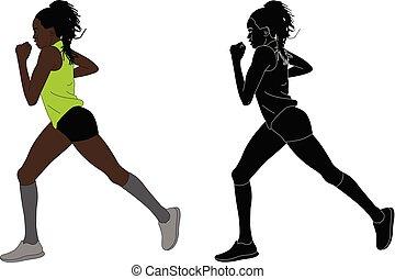 corredor, femininas, maratona, ilustração
