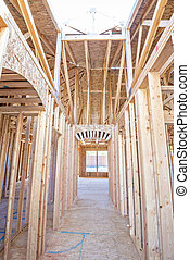 corredor, guiando, em, um, repouso novo, construção
