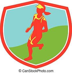 corredor, hembra, triathlete, maratón, protector