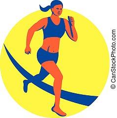 corredor, hembra, triathlete, maratón, retro