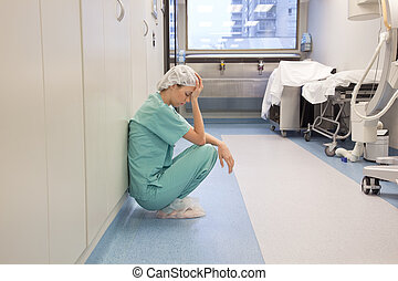 corredor, hospitalar, cansadas, doutor