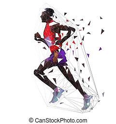 corredor, illustration., polygonal, corriente, vector, bajo, geométrico, hombre, lado, maratón, vista