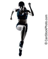 corredor, jogger, mulher, pular
