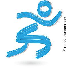 corredor, logotipo, cepillado, figura