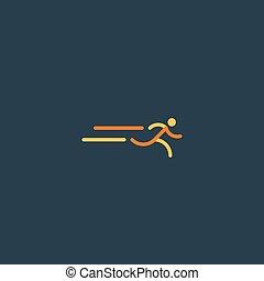 corredor, logotipo, esportes, ícone