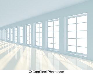 corredor, longo, vazio