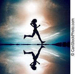 corredor, mostrado silhueta, reflec
