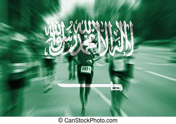 corredor, movimiento de la falta de definición, bandera,...
