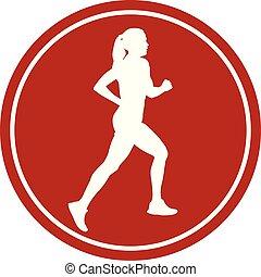 corredor, niña, atleta, icono