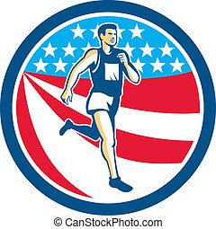 corredor, norteamericano, corriente, retro, círculo, maratón