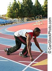 corredor, norteamericano, hombre africano