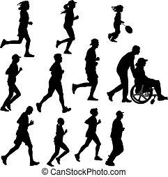 corredor, persona, parapléjico
