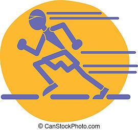 corredor, pista, olímpico, colegio, corredor