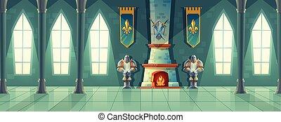 corredor, salão baile, real, vetorial, interior, castelo