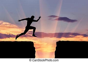 corredor, saltos, encima, atleta, precipicio