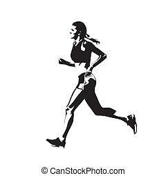corredor, silueta, aislado, corriente, vector, mujer, vista., ing, dibujo, maratón, lado