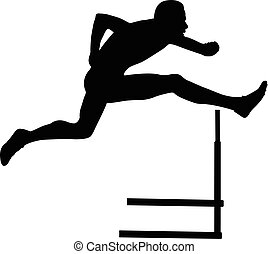 corredor, sprinter, corriente, hombres, valla