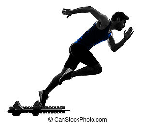 corredor, sprinter, executando, sprinting, atletismo, homem, silueta, isola