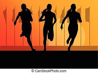 corredor, sprinter, mulher, grupo, femininas
