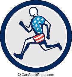 corredor, sprinter, norteamericano, corriente, retro, vista lateral