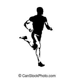corredor, sprinting, lado, aislado, silhouette., vector, corra, vista