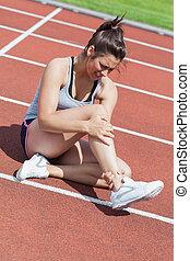 corredor, tornozelo, ferimento, femininas