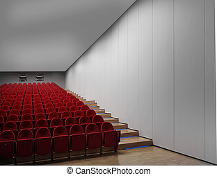 corredor, vazio, cinema