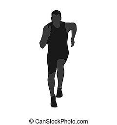 corredor, vetorial, silhouette., frente, vista., corrida