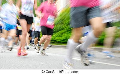 corredores, en, un, carrera