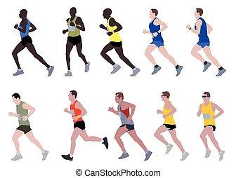 corredores maratón, ilustración