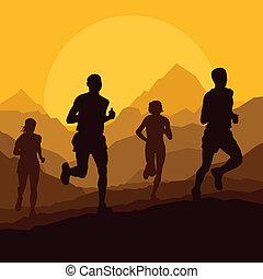 corredores maratona, em, selvagem, natureza, paisagem montanha, fundo
