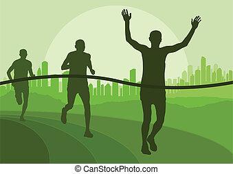 corredores maratona, executando, silhuetas, vetorial