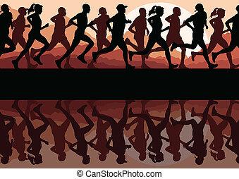 corredores maratona, executando, silhuetas, vetorial, fundo