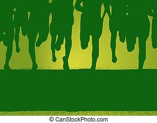 corredores maratona, vetorial, cartaz