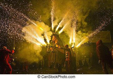 Correfoc Festa Major El Vendrell - EL VENDRELL, ES - JUL 29:...