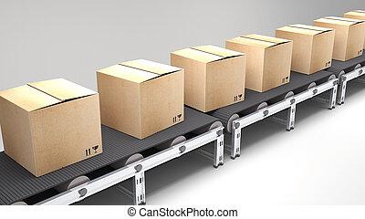 correia transportadora, com, caixas papelão