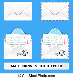 correio, ícones, set., vetorial