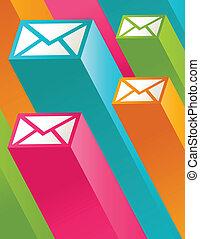 correio, 3d, coloridos, ícones