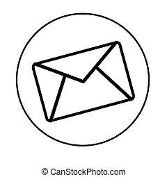 correio, branca, isolado, fundo, ícone