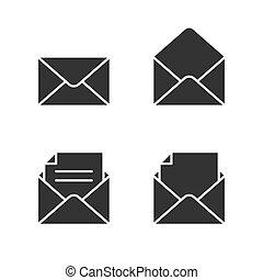 correio, branca, jogo, pretas, ícones