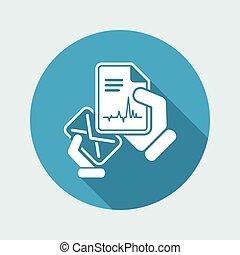 correio, com, um, documento médico