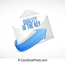 correio, conceito, qualidade, tecla, sinal