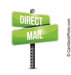 correio, desenho, direto, ilustração, sinal