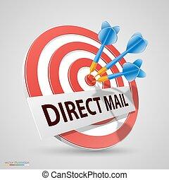correio direto, alvo, dardo, ícone, vetorial, ilustração