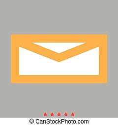 correio, estilo, ícone, apartamento