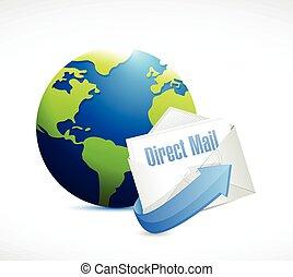 correio, globo, desenho, direto, ilustração