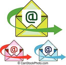 correio, vetorial, email, enviado, ícone