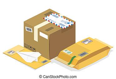 correios, isometric, vetorial, pacotes, postal