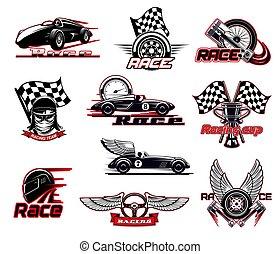 correndo, ícones, vetorial, motor, raça, jogo, car