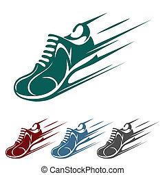 correndo, accelerare, scarpa, icone
